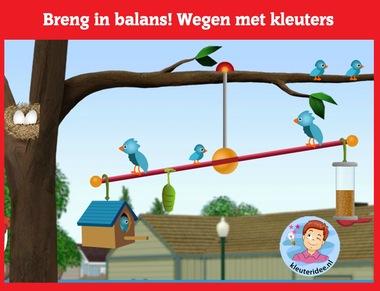 Breng in balans, wegen met kleuters op digibord of computer op kleuteridee.nl, Kindergarten weight game for IBW or computer