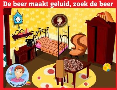 De beer maakt geluid, zoek hem op, voor kleuters op digibord of computer op kleuteridee.nl, Kindergarten, educative games for IBW or computer