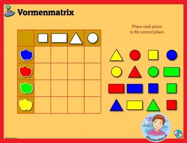 Vormenmatrix met kleuters op digibord of computer op kleuteridee.nl