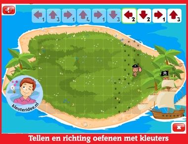 Tellen en richting oefenen met kleuters op digibord of computer op kleuteridee.nl