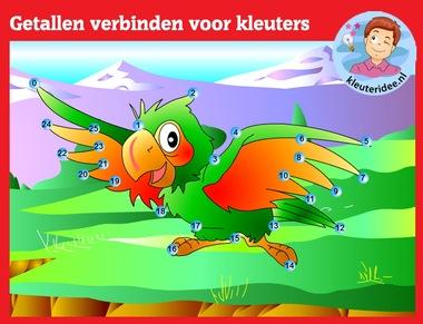 Getallen verbinden voor kleuters op digibord of computer op kleuteridee.nl, Kindergarten dot to dot game for IBW or computer