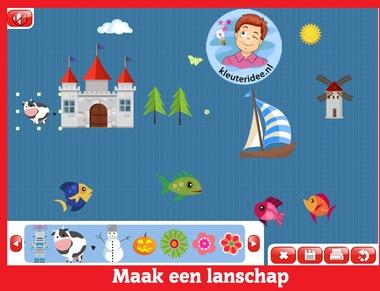 Maak een landschap, kleuters op digibord of computer op kleuteridee.nl