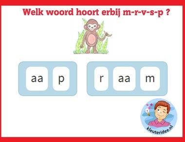 Welk woord hoort erbij 1 m-r-v-s-p , taal voor kleuters op digibord of computer op kleuteridee.nl