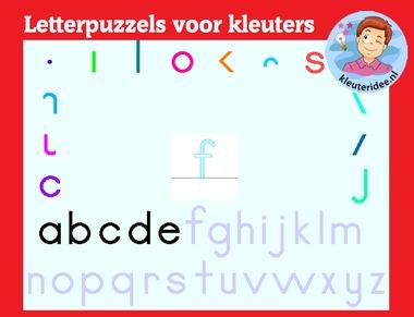 Letterpuzzels voor kleuters op digibord of computer op kleuteridee.nl, Kindergarten letter game for IBW or computer