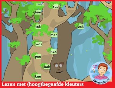 Lezen met (hoog)begaafde kleuters op digibord of computer op kleuteridee.nl - Kindergarten educative game for IBW or computer
