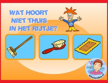 Wat hoort er niet bij, verwoord het , taal voor kleuters op digibord of computer op kleuteridee.nl