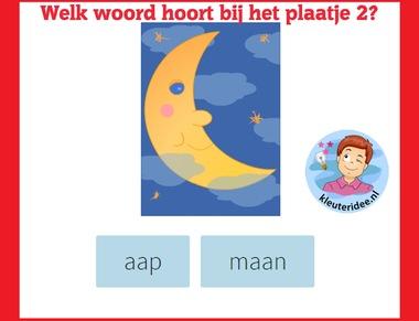 Welk woord hoort bij het plaatje (2) , taal voor kleuters op digibord of computer op kleuteridee.nl