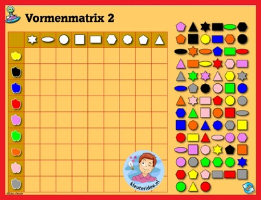 Vormenmatrix 2 met kleuters op digibord of computer op kleuteridee.nl