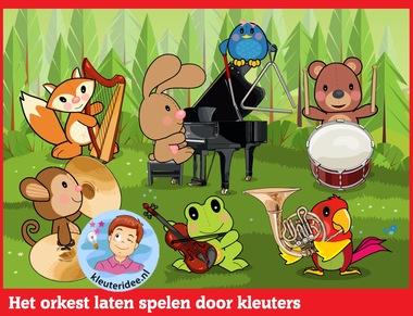 Het orkest laten spelen door kleuters op digibord of computer op kleuteridee.nl