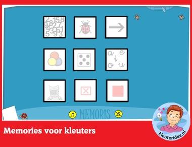 Memories voor kleuters, rekenen met digibord of computer op kleuteridee.nl