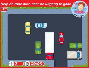 Help de rode auto naar de uitgang voor digibord of computer, kleuteridee