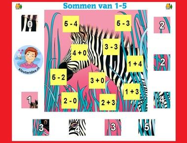Sommen 0 - 5 met zelfcontrole puzzel 2 , met kleuters op digibord of computer op kleuteridee.nl
