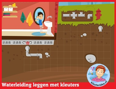 Waterleiding leggen met kleuters op digibord of computer op kleuteridee.nl - Kindergarten math for IBW or computer
