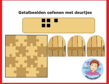 Getalbeelden oefenen , rekenen voor kleuters op digibord of computer op kleuteridee.nl