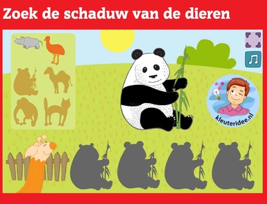 Zoek de schaduw van de dieren met kleuters op digibord of computer op kleuteridee.nl, Kindergarten, educative shadow games for IBW or computer