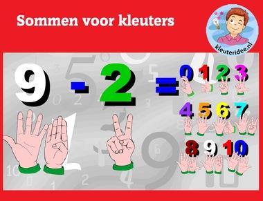 Sommen voor kleuters op digibord of computer op kleuteridee.nl, Kindergarten, educative math games for IBW or computer
