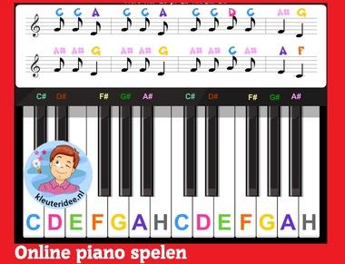 Online piano spelen door kleuters op digibord of computer op kleuteridee.nl