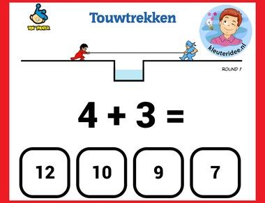 Touw trekken, sommen maken met kleuters op digibord of computer op kleuteridee.nl, Kindergarten math game for IBW or computer