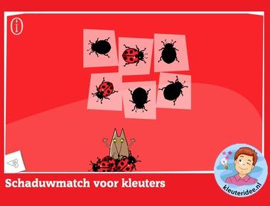 Schaduwmatch voor kleuters, rekenen met digibord of computer op kleuteridee.nl