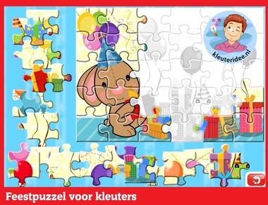 Feestpuzzel voor kleuters op digibord of computer op kleuteridee.nl