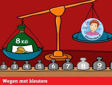 Samen wegen met kleuters op digibord of computer op kleuteridee.nl - Kindergarten educative game for IBW or computer