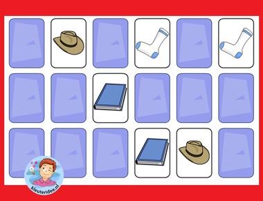 Memorie (kies zelf het aantal kaarten) met kleuters met kleuters op digibord of computer op kleuteridee.nl