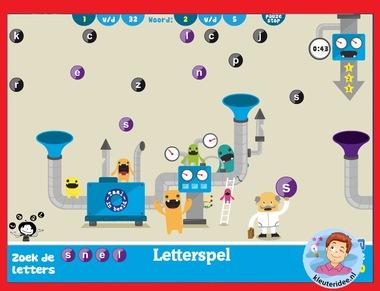 Letterspel voor (hoog)begaafde kleuters op digibord of computer op kleuteridee.nl, Kindergarten abc game for IBW or computer