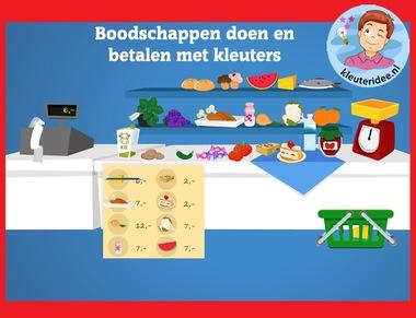 Boodschappen doen en betalen met kleuters op digibord of computer op kleuteridee.nl - Kindergarten math for IBW or computer
