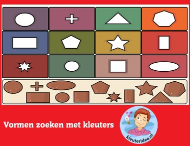 Vormen zoeken met kleuters op digibord of computer op kleuteridee.nl - Kindergarten educative game for IBW or computer