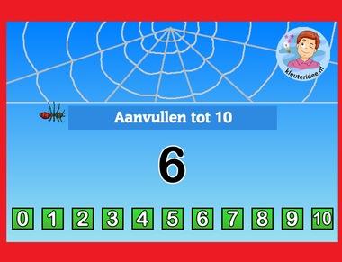 Aanvullen tot 10 met kleuters op digibord of computer op kleuteridee.nl