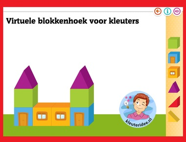 Virtuele blokkenhoek voor kleuters op digibord of computer op kleuteridee.nl - Kindergarten math for IBW or computer