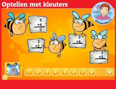 Optellen met kleuters op digibord of computer op kleuteridee.nl, thema bijen, Kindergarten educative math game for IBW or computer