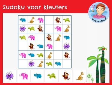 Sudoku voor kleuters, kleuteridee, interactief spel rekenen digibord 2