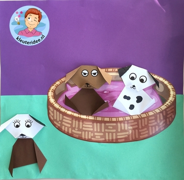Puppy's vouwen, thema de hond, kleuteridee, Kindergarten dog theme craft