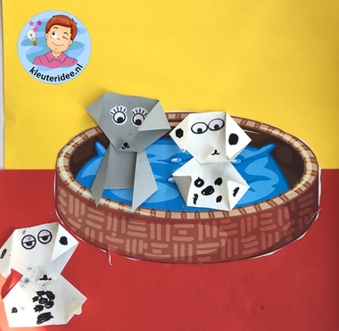 Puppy's vouwen, thema de hond, kleuteridee, Kindergarten dog theme craft 2