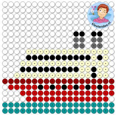 kralenplank boot, thema de haven, kleuteridee, Kindergarten ship beads 2