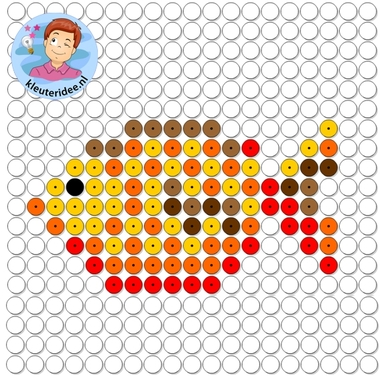 kralenplank vis, thema de haven, kleuteridee, Kindergarten fish with beads