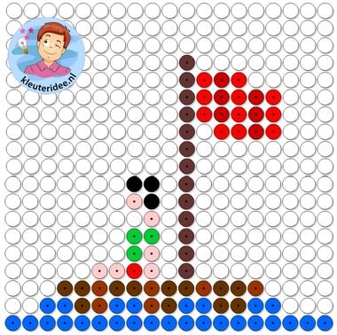 kralenplank vlot, thema de haven, kleuteridee, Kindergarten ship beads