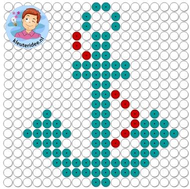 kralenplank anker, thema de haven, kleuteridee, Kindergarten anchor with beads