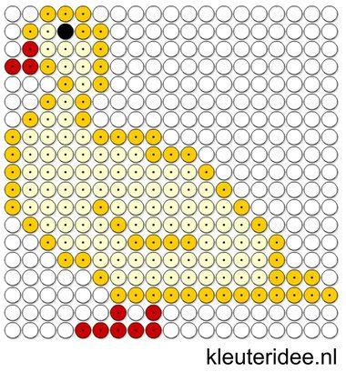 Kralenplank eend, kleuteridee.nl , thema lente , free printable Beads patterns preschool