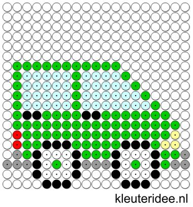 Kralenplank auto, kleuteridee.nl , thema verkeer , free printable Beads patterns preschool