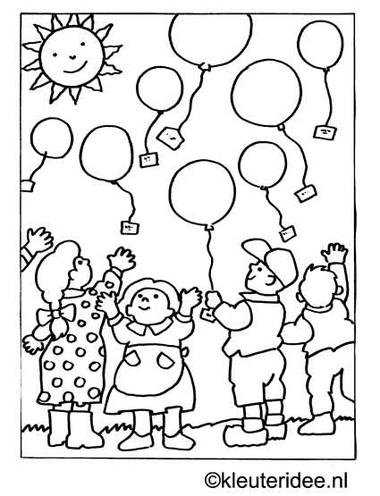 kleurplaat ballonnenwedstrijd, kleuteridee.nl .