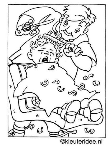 kleurplaat kapper, haren knippen, kleuteridee.nl.
