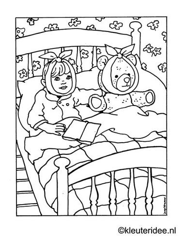 Kleurplaat ziek in bed, kleuteridee.nl ,sick in bed coloring .