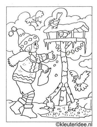 kleurplaat meisje met vogelhuisje, kleuteridee.nl .