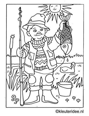 Kleurplaat vissen vangen, kleuteridee.nl ,fishing coloring.