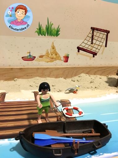 Thematafel strand, met speelkleden , thema zomer, kleuteridee 3