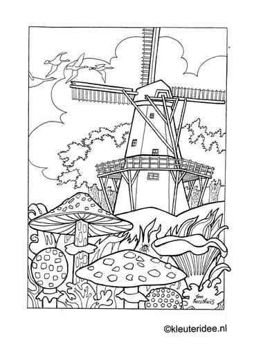 Kleurplaat herfst, paddestoelen,molen, kleuteridee.nl , autumn, mushrooms, windmill, preschool coloring.