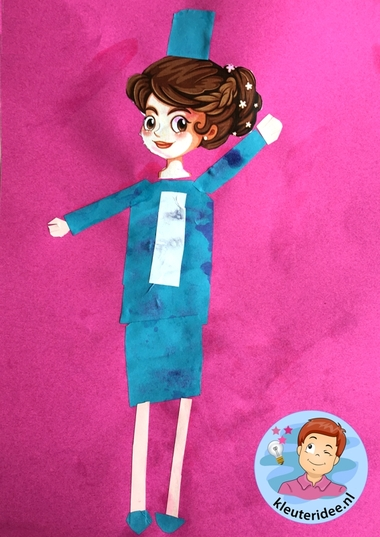 stewardess knippen en plakken, thema vliegveld, kleuteridee, Kindergarten stewardess craft, airport theme