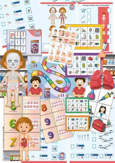 Themapakket ziek zijn voor kleuters, kleuteridee, spellenpakket